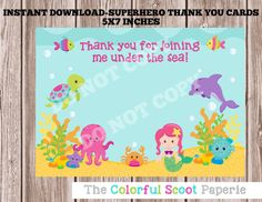 Instant Download-Under The Sea Thank You Cards, Under the Sea Birthday, Under the Sea Party Printables, (#384)