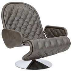 Gorgeous Silver Gray Diamond Tufted Leather Verner Panton Leather 123 Chair | From a unique collection of antique and modern lounge chairs at https://www.1stdibs.com/furniture/seating/lounge-chairs/