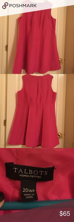 Talbots Pink Dress- 20WP- Excellent Condition Never worn! Beautiful dress! Size 20WP! Talbots is the brand. Shoulder to hem is 37 inches. It's sleeveless- aline dress. Lined. Talbots Dresses Asymmetrical