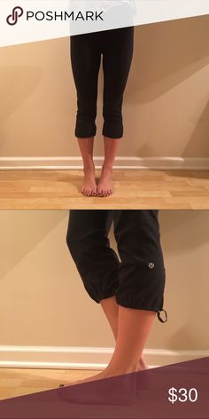 Lululemon Black Capri w/ Drawstring Bottom Black Lululemon capri with drawstring bottoms. Good condition, no pilling. Worn only a few times. Selling only, no trades. lululemon athletica Pants Capris