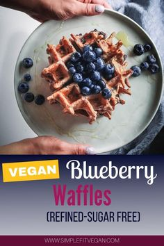 Crispy on the outside and super moist on the inside, these vegan sugar-free Blueberry Waffles are a true symbol of the weekend freedom! #blueberry #veganwaffle #veganbreakfast Gluten Free Recipes, Easy Recipes, Vegan Recipes, Snack Recipes, Easy Meals, Snacks, Vegan Breakfast, Breakfast Ideas, Breakfast Recipes