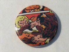 "Halloween Sale// Comic Book 1.5"" Button// Wolverine vs Sabretooth, $0.50"