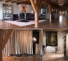 Amsterdam Sugar Warehouse - With no walls, the owners have used beige (or natural?) linen curtains throughout to separate areas. Innovative!