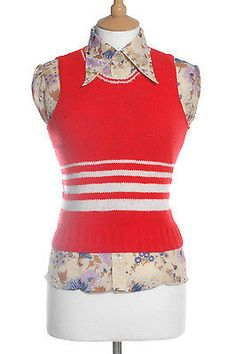 #Vintage #1970's red & #white tank top 10,  View more on the LINK: http://www.zeppy.io/product/gb/2/252321307245/