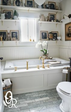 Oliver and Rust || vintage white bathroom with uncoated brass faucets