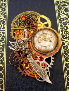 Steampunk Pin or Pendant P122  Brooch  by DesignsByFriston on Etsy, $45.00