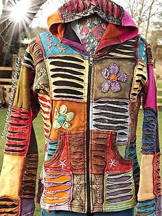 ♥ ~ FAB NEW COLOURFUL PATCHWORK HIPPIE JACKET TOP 10 12 14 16 18 BOHO DREADS £24.50