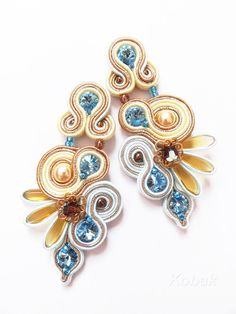 Soutache Earrings - Stunning, eye catching earrings with Swarovski crystals, Czech and Japanese glass beads, metal elements - Blue / Brown / Gold - Statement earrings
