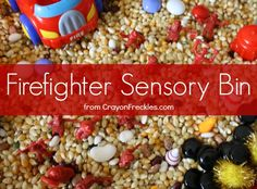 firefighter sensory bin with material list from CrayonFreckles.com