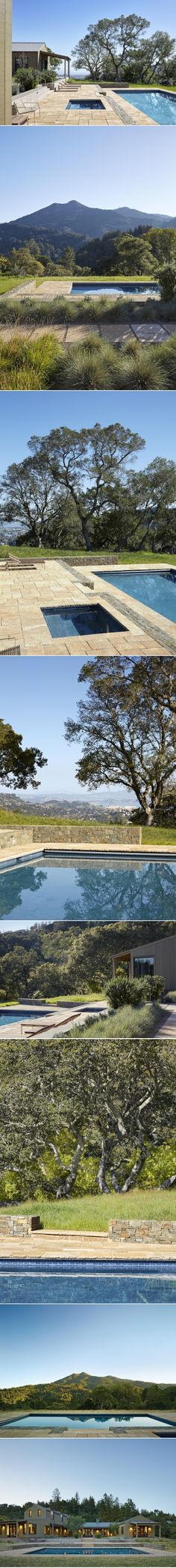 When a young family first saw the three-acre northern California property that would become their home, it had a water-loving landscape: green lawns covere Marin County California, Northern California, Awesome Pools, Cool Pools, Swimming Pool Designs, Swimming Pools, Big Pools, Green Lawn, Tubs