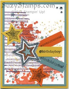 Stampin' Up! Cards - 2015-07 Class - Be the Star, Gorgeous Grunge and @SoSocial stamp sets, Star Framelits, new Medium Star and Washi Label Punches, Metallic Thread