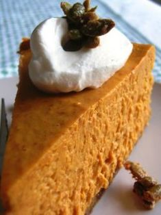"2-Step Pumpkin Cheesecake.....1 package (8 ounce size) cream cheese, softened 1 cup canned pumpkin 1/2 cup sugar 1/2 teaspoon pumpkin pie spice 1 container (8 ounce size) Cool Whip 1 prepared 9"" graham cracker crust"