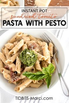 Instant Pot Sun-Dried Tomato Pasta with Pesto is a healthy, quick, and easy dinner.  Light creamy sauce, tangy tomatoes, tender chicken, and a dollop of fresh pesto on top.  This is an outstanding pressure cooker dish!  #instantpot #instantpotpasta #sundriedtomatopasta #pesto Instant Pot Pasta Recipe, Instant Pot Dinner Recipes, Delicious Dinner Recipes, Side Dish Recipes, Pasta Recipes, Healthy Recipes, Bacon Recipes, Avocado Recipes, Chicken Recipes