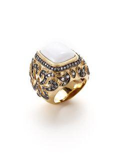 Rivka Friedman Two Tone Floral & Stone Ring