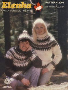 His & Her Pullover Sweater & Hat with design from graph Vintage Knitting Pattern for download 32-46