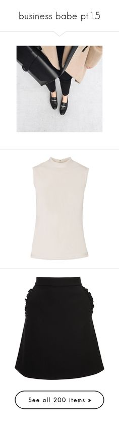 """""""business babe pt15"""" by rowan-asha ❤ liked on Polyvore featuring tops, white, white jersey top, jersey top, white jersey, key hole top, rayon tops, skirts, mini skirts and black"""