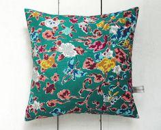 Jade Green Retro Vintage Kimono Fabric Pillow Cushion by LynnWatt, $38.00
