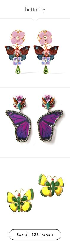 """Butterfly"" by tanyakc ❤ liked on Polyvore featuring butterfly, jewelry, earrings, accessories, clip on earrings, butterfly earrings, swarovski crystal earrings, butterfly clip earrings, butterfly clip on earrings and flower jewellery"