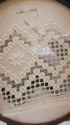Notice the cotton layer under the hoop to save your hardanger. - Her Crochet Hardanger Embroidery, Embroidery Stitches, Embroidery Patterns, Hand Embroidery, Cross Stitches, Loom Patterns, Bordado Popular, Shuttle Tatting Patterns, Drawn Thread