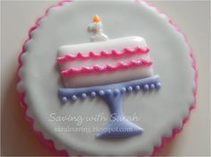 First Birthday Cake Cookie with #1 Candle #1stbirthday #firstbirthday #birthdaycookies
