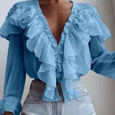 Ruffles, Cute Fashion, Fashion Outfits, Sexy Shirts, Ruffle Shirt, V Neck Tops, Spring, Long Sleeve Shirts, Tunic Tops