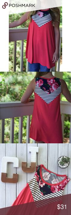 Stripe & Floral Sleeveless Tank Tunic Dress A geometric arrow pattern combines a pink floral (on navy background), navy & cream stripes and bright coral for the perfect spring/summer dress! Wear as a tunic over jeans or leggings or alone as a dress. Super soft and stretchy, flowy fabric. Made in USA. Shop the full boutique at carolinajule.com! Tops Tunics