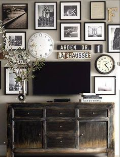 Image result for how to style wall around flat screen tv