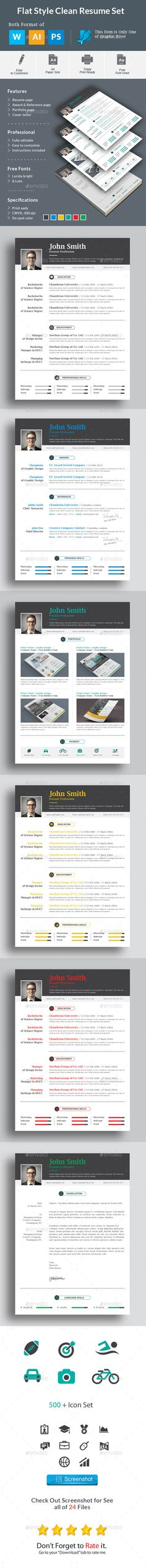 flat style clean resume set template design download httpgraphicriver