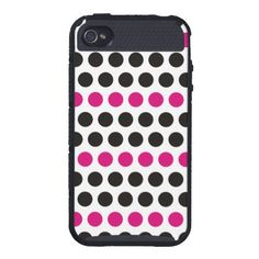polka dots black and Pink iPhone 4 Cover