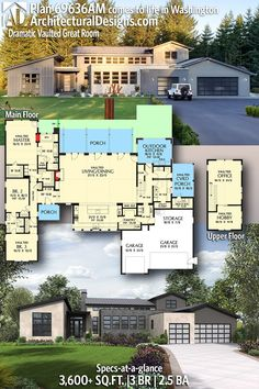 Plan Dramatic Contemporary House Plan with Vaulted Great Room – home office design layout New House Plans, Dream House Plans, Modern House Plans, Small House Plans, House Floor Plans, Contemporary House Plans, Great Rooms, Planer, Future House
