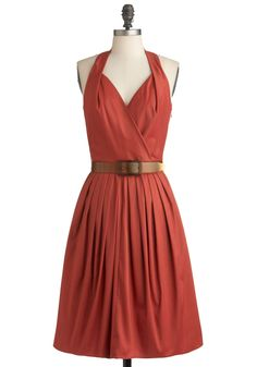 Use That Tone With Me Dress - Long, Orange, Solid, Pleats, Pockets, Party, Halter, Belted, Fit & Flare, Vintage Inspired