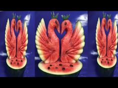 Art an the Bird Carving by watermelon,Heart Bird by Watermelon Carving Pineapples, Watermelon Carving Easy, Fruit Platter Designs, Deco Fruit, Vegetable Decoration, Fruit Creations, Fruit And Vegetable Carving, Food Carving, Fruit Decorations