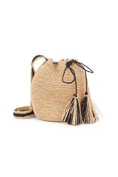 Crochet mini bucket bag with raffia tassels