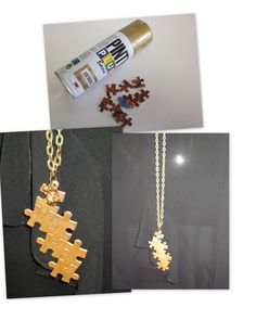 Colgantes con piezas de puzzle: maybe not in gold but the idea is really nice!