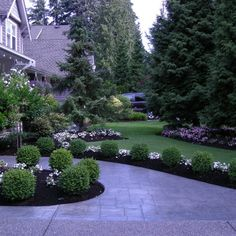 Stunning front entry with boxwood - Traditional Landscape Design - Front Yard Landscaping Make Over Boxwood Landscaping, Landscaping With Rocks, Front Yard Landscaping, Backyard Landscaping, Landscaping Ideas, Front Walkway, Black Rock Landscaping, Landscaping Edging, House Landscape