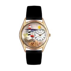 Whimsical Watches Lighthouse Black Leather And Goldtone Watch
