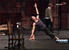 Tom Hiddleston doing yoga before Cymbeline