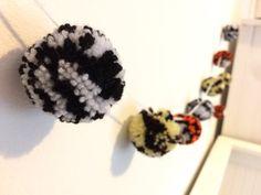 Safari animal print wool 12 pom pom handmade by BrightIslandUK
