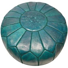 Leather Aqua Green Pouf Ottoman (Morocco) from Overstock Leather Pouf Ottoman, Moroccan Leather Pouf, Moroccan Pouf, Ottoman In Living Room, My Living Room, Living Area, Teal Green, Green Colors, Yellow