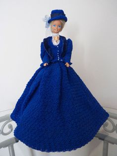 OOAK Barbie Doll in a Blue Victorian Crochet Dress #DollswithClothingAccessories