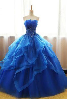 Royal Blue Sweetheart Prom Dress,strapless Tulle Ball Gown,sleeveless Prom Dresses,floor Length Prom on Luulla Strapless Prom Dresses, Pretty Prom Dresses, Prom Dresses Blue, Cute Dresses, Evening Dresses, Dress Prom, Pageant Dresses, 15 Dresses, Royal Dresses