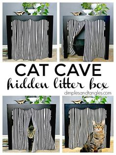 How to hide the litter box  ||  Side table to covered litter box