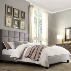 @Overstock - INSPIRE Q Fenton Grey Linen Panel Upholstered Bed - Elegant and neutral, this modern gray bed offers a sophisticated alternative to traditional wood pieces. This linen-covered bed is filled with plush foam to ensure comfort as you snooze, and the contemporary set comes in three different sizes. http://www.overstock.com/Home-Garden/INSPIRE-Q-Fenton-Grey-Linen-Panel-Upholstered-Bed/8047504/product.html?CID=214117 $399.99