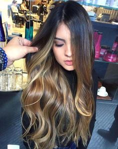 Brunette Balayage for Thick Hair - 50 Cute Long Layered Haircuts with Bangs 2019 - The Trending Hairstyle Long Face Hairstyles, Trendy Hairstyles, Straight Hairstyles, Brown Ombre Hair, Ombre Hair Color, Balayage Hair, Bayalage, Wavy Hair, Hair Looks