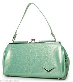 LUX DE VILLE GETAWAY KISS LOCK Baby Sparkle Green Handbag Purse Pinup Ladies Bag ***FREE U.S. SHIPPING*** #LuxDeVille #Handbag #Getaway #KissLocks #SmallTote #Purse #Bag #Pinup #Retro #BabyGreen #LeopardPrint #Rockabilly #Psychobilly #PunkRock #1950'sStyle