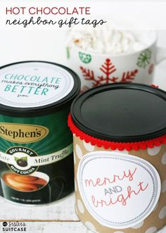 Hot Chocolate Neighbor Gift Tags by My Sister's Suitcase on iheartnaptime.com