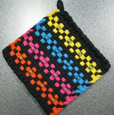 Bright Floral Beaded Woven Potholder