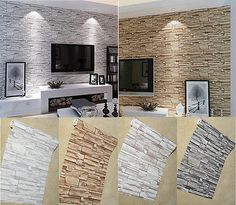 Slate Stone&Brick Effect Patterned Vinyl Wallpaper Roll Decor 4 colors – Home Trends 2020 Home Room Design, Home Interior Design, Living Room Designs, Living Room Decor, Interior Decorating, House Design, Wallpaper Fireplace, Tv Wall Decor, Wall Tv