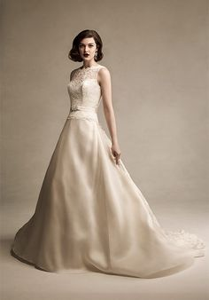 Sophisticated gown in ivory. Would be lovely for second-time bride.