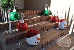 Painted Pumpkins for Christmas LOVE this idea!!!! Use a clay pot for a hook base and pipecleaners for hooks on the ornament pumpkins.. The paint preserves the pumpkin.